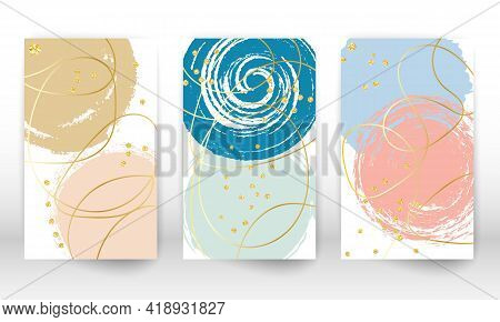 Modern Art Painting. Set Of Geometric Shapes And Lines. Hand Painted Shapes, Gold Particles. Modern