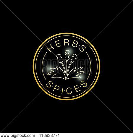 Vector Illustration Of Herbs And Spices Round Logo For Banner, Poster, Spice Shop Advertisement, Sig