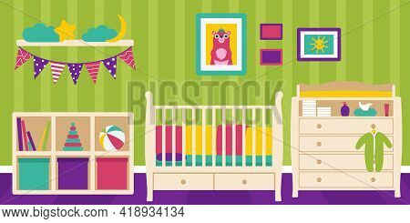 A Room For A Newborn Baby With A Crib, Changing Table, Shelf And Toys.