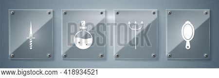 Set Magic Hand Mirror, Neptune Trident, Bottle With Love Potion And Dagger. Square Glass Panels. Vec