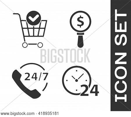 Set Clock 24 Hours, Shopping Cart With Check Mark, Telephone 24 Hours Support And Magnifying Glass A