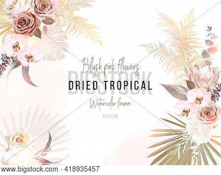 Trendy Dried Palm Leaves, Blush Pink And Rust Rose, Pale Protea, White Orchid, Gold Monstera