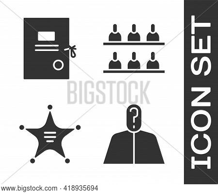 Set Anonymous With Question Mark, Lawsuit Paper, Hexagram Sheriff And Jurors Icon. Vector