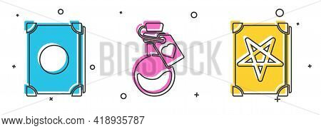 Set Ancient Magic Book, Bottle With Love Potion And Ancient Magic Book Icon. Vector