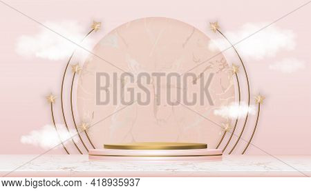 Eid Mubarak Greeting Card With Podium And Star On Marble Background, Vector For Muslim Product Showc