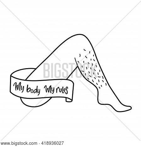 Feminist And Grl Pwr Vector Sticker. Handwritten Phrase With Ribbon On Women Non Shaved Leg. Letteri