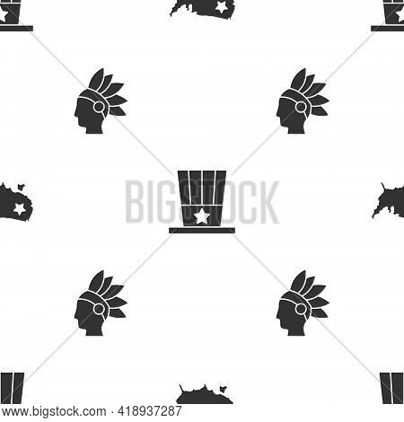 Set Usa Map, Patriotic American Top Hat And Native Indian On Seamless Pattern. Vector