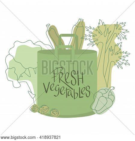 Fresh Vegetables Sign On Eco Shopping Paper Bag With Vegetables Outline Flat Illustration. Zero Wast