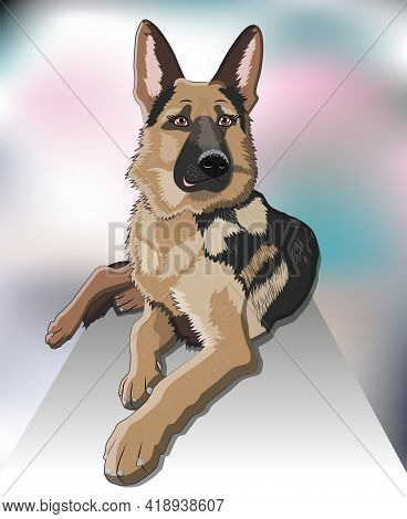 Dog Breed German Shepherd Proudly Lies On The Doorstep Of The House, Realistic Picture