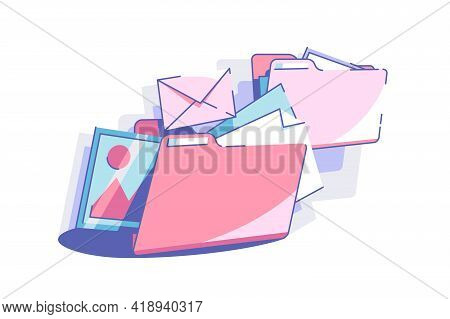 Sort Out Files To Folders Vector Illustration