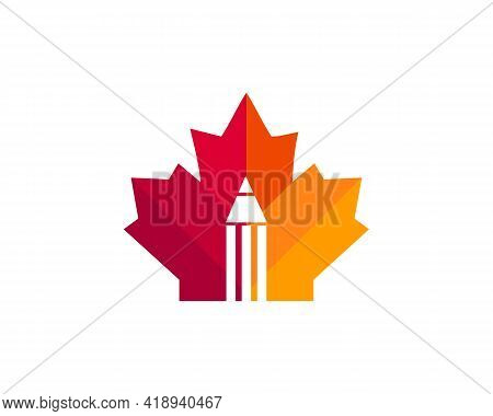 Maple Pencil Logo Design. Canadian Pencil Logo. Red Maple Leaf With Pencil Vector