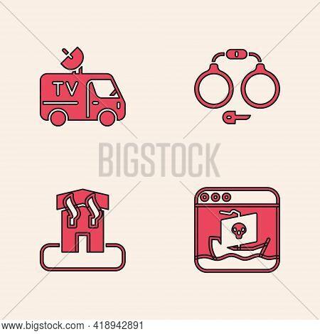 Set Internet Piracy, Tv News Car, Handcuffs And Arson Home Icon. Vector
