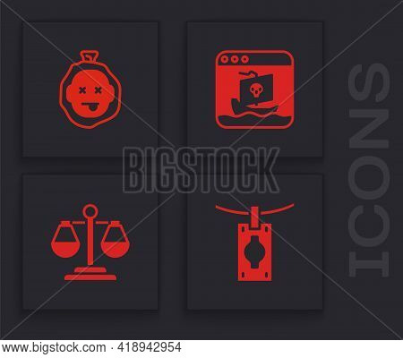 Set Money Laundering, Murder, Internet Piracy And Scales Of Justice Icon. Vector