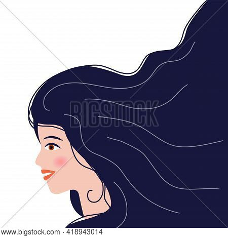 The Head Of A European Girl In Profile. Portrait Of A Brunette Woman. Social Media Avatar. Flat Illu