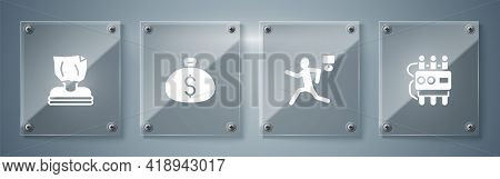 Set Dynamite And Timer Clock, Murder, Money Bag And Kidnaping. Square Glass Panels. Vector
