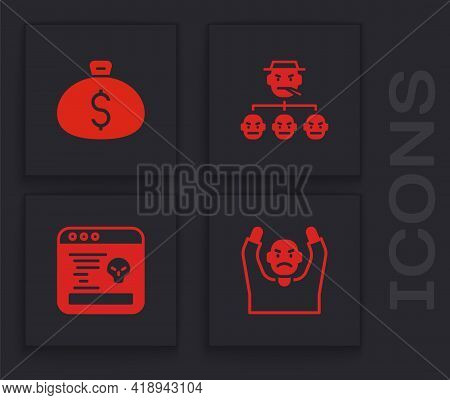 Set Thief Surrendering Hands Up, Money Bag, Mafia And System Bug Icon. Vector