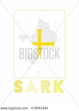 Sark Logo. Map Of Sark With Island Name And Flag. Awesome Vector Illustration.