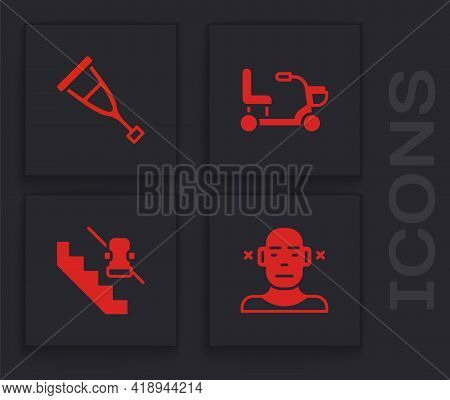 Set Deaf, Crutch Or Crutches, Electric Wheelchair And Disabled Elevator Icon. Vector