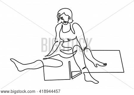 One Line Drawing Of Woman Trainer Teaches Yoga Remotely Over The Internet. One Continuous Line Drawi