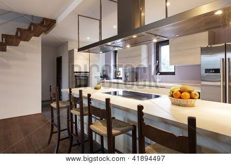 modern loft, view of the kitchen