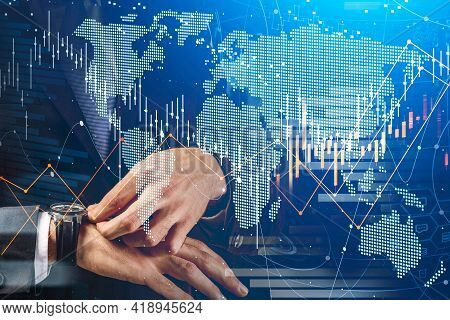 Businessman Trader Checking His Watch. Stock Market Changes, Business Candlesticks Graph Chart. Doub