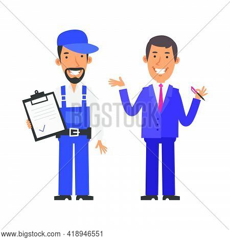 Repairman Holding Tablet And Smiling. Businessman Holding Pen And Smiling. Vector Characters. Vector