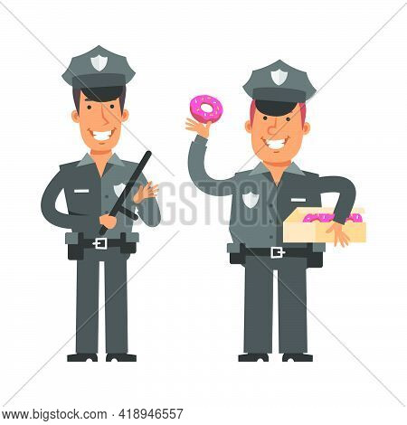 Thin Policeman Holding Police Baton. Fat Policeman Holding Donut. Vector Characters. Vector Illustra