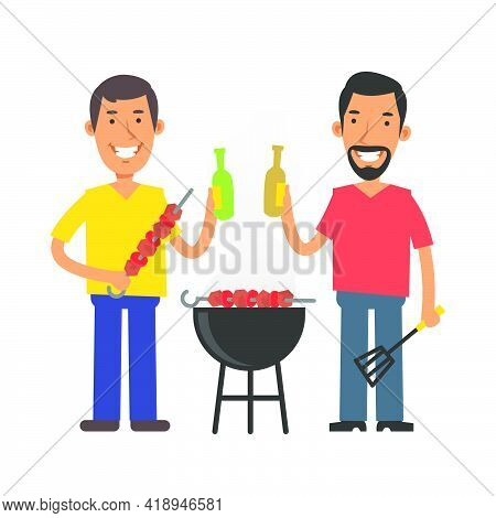 Young Man Holding Barbecue And Beer. Young Man With Beard Holding Kitchen Spatula And Beer. Vector C