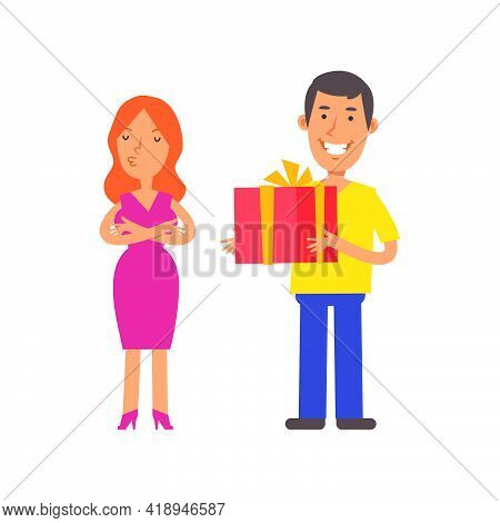 Girl Was Offended. Men Holding Gift Box And Smiling. Vector Characters. Vector Illustration