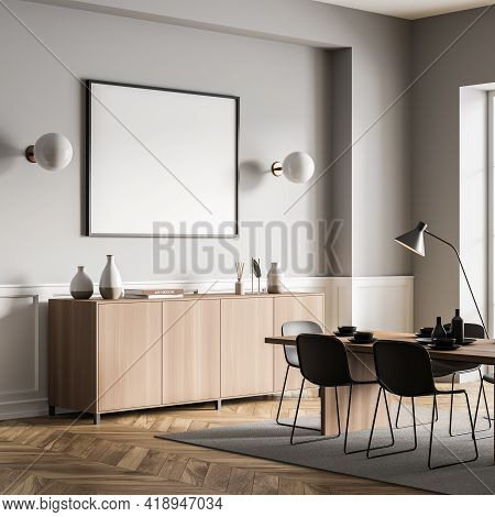 Eating Room Interior With Black Chairs And Wooden Table With Dishes, Side View, On Carpet, Parquet F