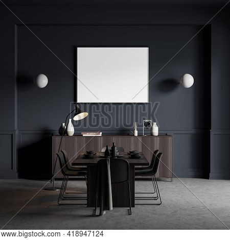 Eating Room Interior With Black Chairs And Table With Dishes On Concrete Floor. Wooden Commode With
