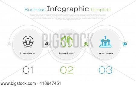 Set Line Memorial Wreath, Dead Body And Old Crypt. Business Infographic Template. Vector