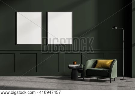 Modern Living Room Interior With Concrete Floor, Furniture, Table And Armchair. Home Architecture Co