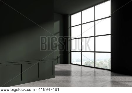 Modern Living Room Interior With Concrete Floor. Home Architecture Renovation Concept. Empty Mock Up