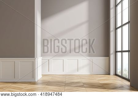 Modern Living Room Interior With Wooden Floor. Home Architecture Renovation Concept. Empty Mock Up G