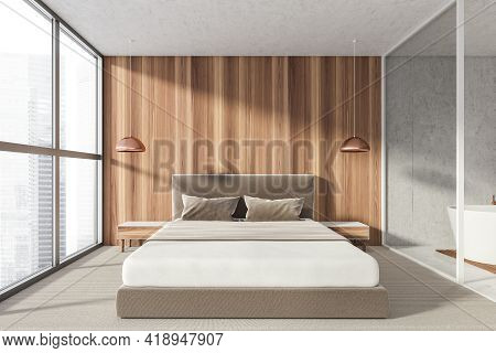 Modern Bathroom Bedroom Interior In New Luxury Home. Stylish Hotel Room. Open Space Area. Wooden Wal