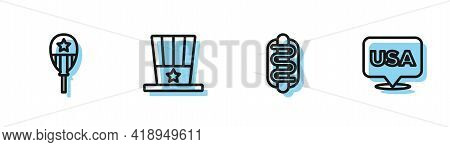 Set Line Hotdog Sandwich, Balloons, Patriotic American Top Hat And Usa Independence Day Icon. Vector