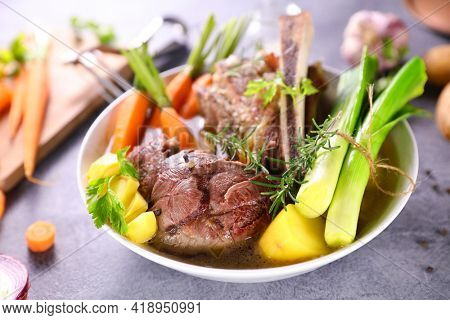 pot au feu- beef with vegetables and broth