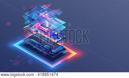Phone Repair Service. Disassembled Smartphone. Case And Electronic Parts Or Components On Scheme Of