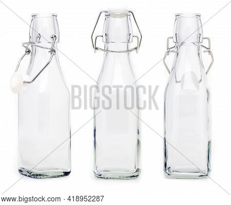 Several Glass Bottles With 250 Ml Soda Type Closures. Without Label And Isolated On White Background