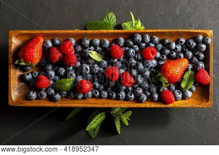 Appetizing Variety Of Forest Fruits (strawberries, Strawberries, Raspberries, Blueberries, Red Berri