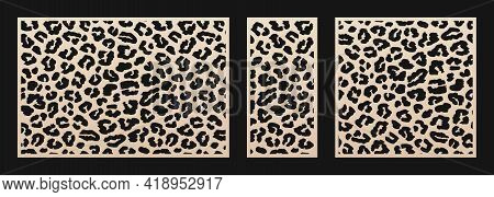 Laser Cut Patterns. Vector Design With Leopard Skin Print, Abstract Texture. Template For Cnc Cut, D