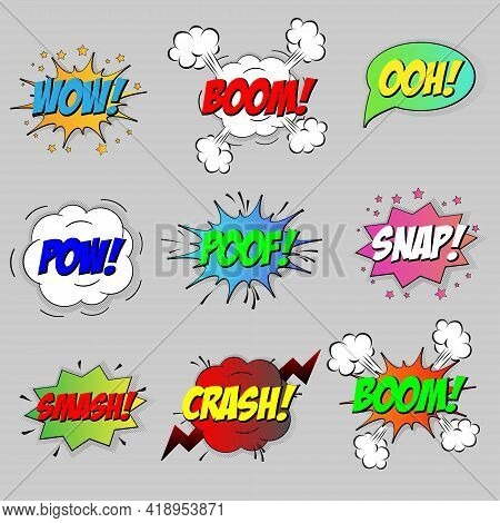 Comic Sound Speech Effect Bubbles Set Isolated On White Background Vector Illustration. Wow, Pow, Ba