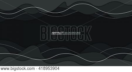 Black Papercut Style Background With White Lines. Vector Illustration.