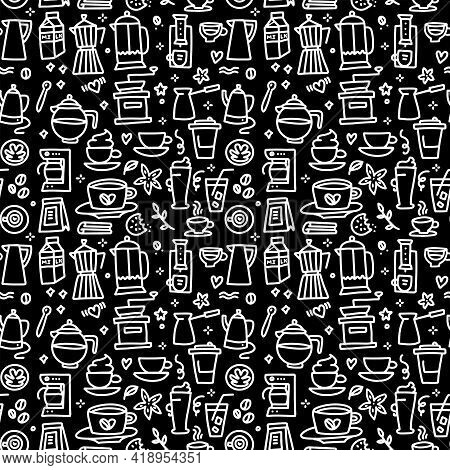Chalkboard Seamless Pattern With Coffee Elements Design - Doodle Cups, Hot Drinks, French Press, Bre