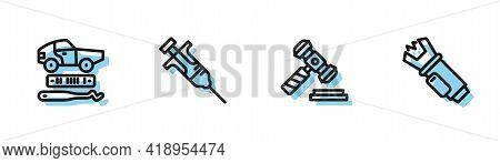 Set Line Judge Gavel, Car Theft, Syringe And Police Electric Shocker Icon. Vector