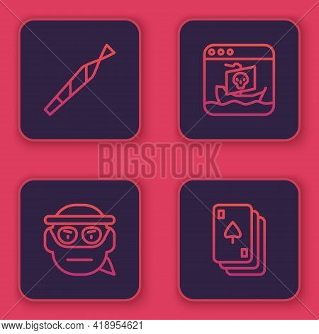 Set Line Marijuana Joint, Bandit, Internet Piracy And Playing Cards. Blue Square Button. Vector