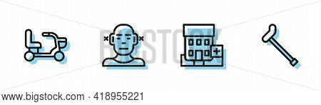 Set Line Medical Hospital Building, Electric Wheelchair, Deaf And Walking Stick Cane Icon. Vector