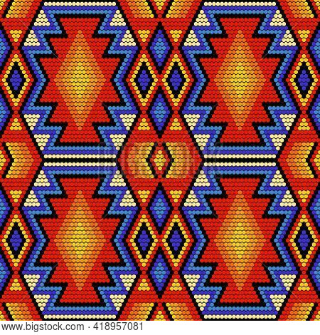 Tribal Geometric Ornament With Mexican Huichol Art Style. Native American Beading. Ethnic Seamless P