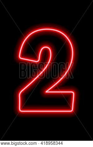 Neon Red Number 2 On Black Background. Learning Numbers, Serial Number, Price, Place. Vector Illustr